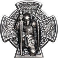 """Остров Мэн 5 фунтов 2019г. """"Маннанан - первый король острова Мэн"""". Монета в шикарном подарочном футляре; сертификат; коробка. СЕРЕБРО 93,311гр.(3 oz)."""