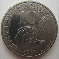 Франция 10 франков 1986 г. Свобода, Равенство, Братство (u)