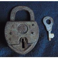 Старинный замок артель с ключом (замочек советский старый СССР)