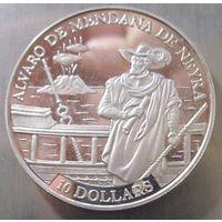 Соломоновы острова. 10 долларов 1991 Серебро(407)