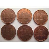 Италия 1 евроцент 2004, 2007, 2008, 2010, 2011, 2013 гг. Цена за 1 шт.
