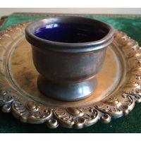 Очень старая чаша кубок куфаль бокал рюмка на стопке олово+кобальтовое стекло SHEFFIELD Шеффилд Англия