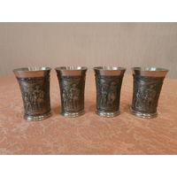 Рюмка коллекционная Мушкетеры олово клеймо Германия середина ХХ века, 4 штуки.
