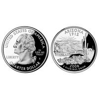 25 центов (квотер) 2008 года Аризона