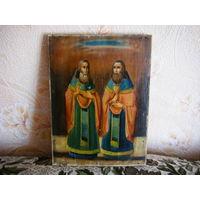 Икона Святые Велико Мученики Паисий и Харлампий. темпер без реставрации.