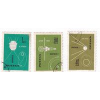 1963 Покорение космоса - спутники (Польша) 3 марки