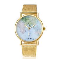 Модные часы с картой на циферблате и позолотой