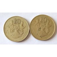 Кипр, 10 центов. 1985, 1990 г.
