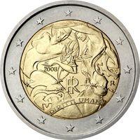 2 Евро Италия 2008 Декларация прав человека UNC из ролла