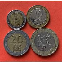 Кения, 4 монеты, 5,10,20,40 биметалл