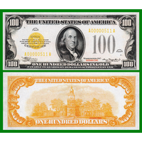 [КОПИЯ] США 100 долларов 1934г. Золотой Сертификат.