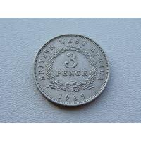 Британская Западная Африка.  3 пенса 1939 год  KM#21