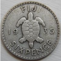 12. Фиджи 6 пенсов 1935 год, серебро