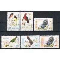 Птицы Бутан 1968 год 6 марок