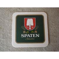 """Подставка под пиво (бирдекель) """"SPATEN"""" (Германия).(1)."""