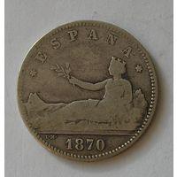 Испания 1 Песета 1870 Серебро (103)