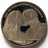 Южная Георгия и Южные Сендвичевы острова 2 фунта 2012 года. Годовщина свадьбы Принца Уильяма и Кейт Миддлтон
