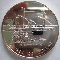 """Канада. 1 доллар 1991. 175 лет пароходу """"Фронтенак"""". Серебро. 258"""