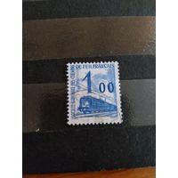 1960 Франция марка оплаты пересылки посылок (пакетов) по железной дороге поезд паровоз Ивер 41 оценка 2,5 евро (2-12)