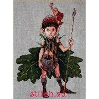 """Набор для вышивки крестом """"Эльф из дубов"""" / """" The Elf of the Oaks"""" (16 х 23 см) Лен  NIMUE Франция"""