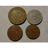 Монеты Германии и Латвии.
