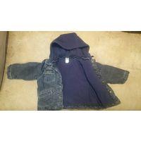 Куртка джинсовая утепленная, рост до 86 см