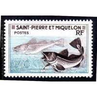Сен-Пьер и Микелон. Ми-381.Треска (Gadus morrhua). Серия: Рыболовство. 1957.