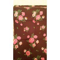 Ткань плательная, бордовая в цветочки (отрез 2,26 х 1,25 м)