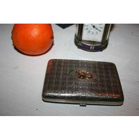 Портсигар  серебро 84 проба с золотой накладкой