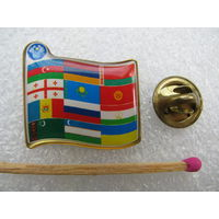 Знак. Флаги стран участниц ЕВРАЗЭС (первоначальный вариант) (тяжёлый, цанга)