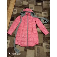 Модная куртка ярко-розового цвета, р.46-50, капюшон-шарф вязаный