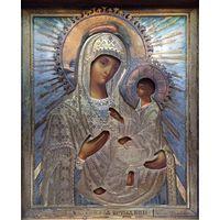"""Икона """"Тихвинская Богородица"""". 84 проба; Россия, 19ый век."""