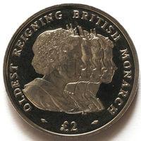 Южная Георгия и Южные Сендвичевы острова 2 фунта 2008 года. Старейший правящий монарх