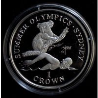 Гибралтар 1 крона 1999. Летние Олимпийские игры в Сиднее. Серебро Пруф Proof.
