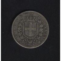 Италия 2 лиры 1863 г. Королевство. Виктор-Иммануил II.