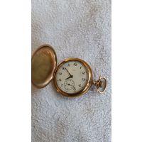 Американские трех крышечные позолоченные часы рабочие 5 см диаметр.
