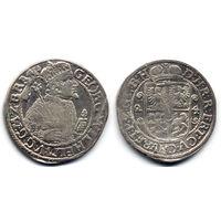 Орт 1624, Пруссия, Георг Вильгельм. Портрет в меховой мантии, знак монетного двора в конце легенды на Ав.