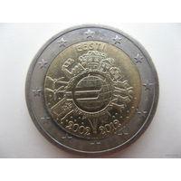 Эстония 2 евро 2012г. 10 лет евро наличными. (юбилейная)