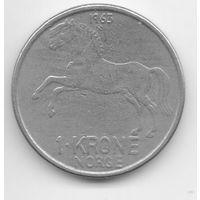 КОРОЛЕВСТВО НОРВЕГИЯ. 1 КРОНА 1963. ФАУНА. Норвежская фьордская лошадь