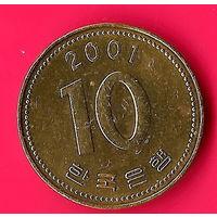 10-38 Южная Корея, 10 вон 2001 г.