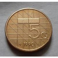 5 гульденов, Нидерланды 1990 г.