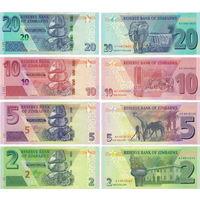 Зимбабве  2 доллара, 5 долларов, 10 долларов, 20 долларов 2019-2020 гг.  UNC  (Цена за 4 банкноты)    НОВИНКА
