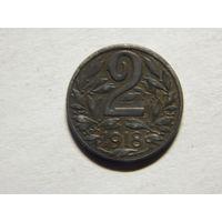 Австро-Венгрия 2 геллера 1918г