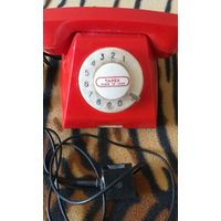Телефон красный дисковый, сделано в СССР, б/у