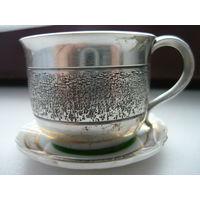 Чашка под кофе серебрение с блюдцем
