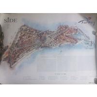 Карта античного города Сиде. 50х70 см. Самого важного и крупного города Памфилии