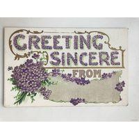 Антикварная открытка 1914 год Greeting sincere