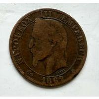 """Франция 5 сантимов, 1862 """"A"""" - Париж 2-8-2"""