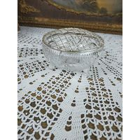 Редкая Ваза розбоул для цветов и цветочных композиций хрусталь серебрение