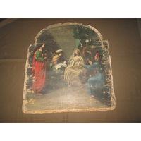 Картина(икона) старинная на религиозную тему Рождество Пресвятой Богородицы кон.18 века